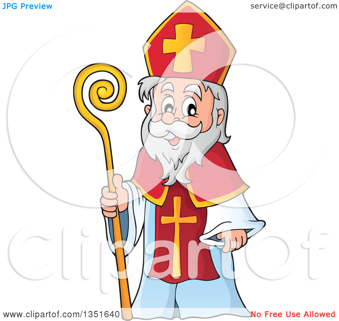 Clipart of a Cartoon Happy St Nicholas.