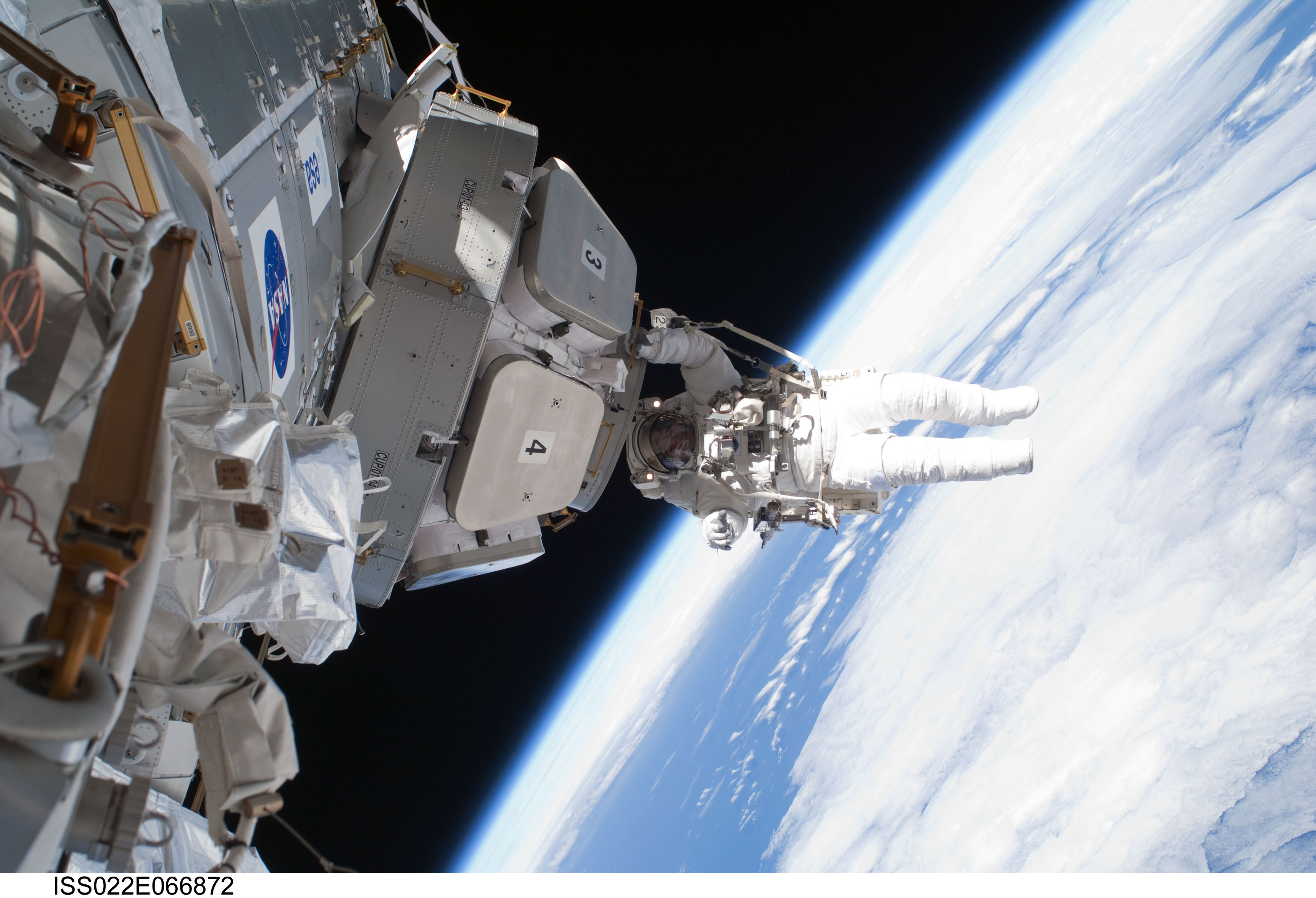 Photo of NASA Astronaut Nicholas Patrick Installing the Panoramic.