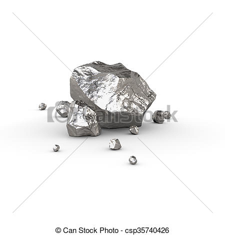 Clip Art of Nickel, mineral raw materials isolated illustration.