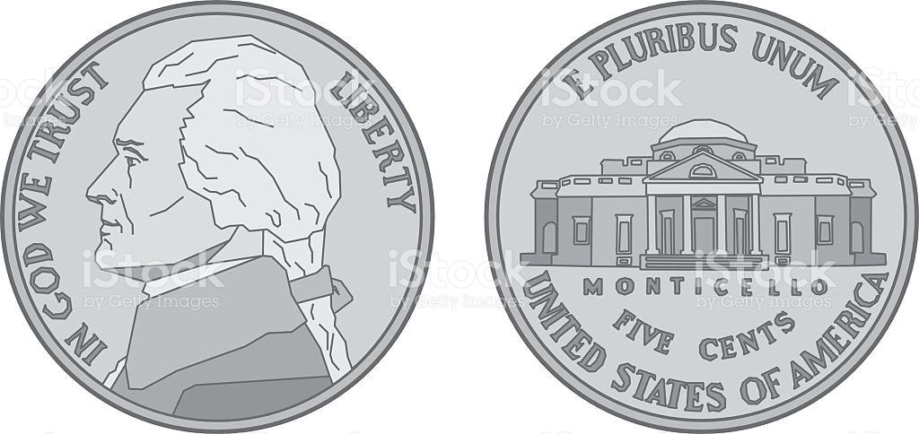 Us Nickel Coin stock vector art 481685840.
