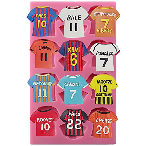 Sports Football Team Shirts Soccer Jerseys Fondant Silicone Mold.