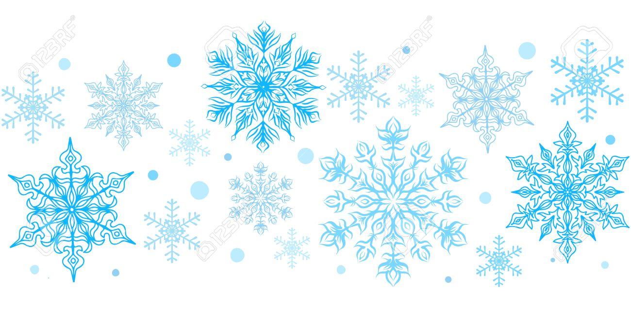 Copos de nieve elemento decorativo. Frontera inconsútil horizontal. Clipart.