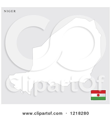 Clipart of a Niger Map and Flag.