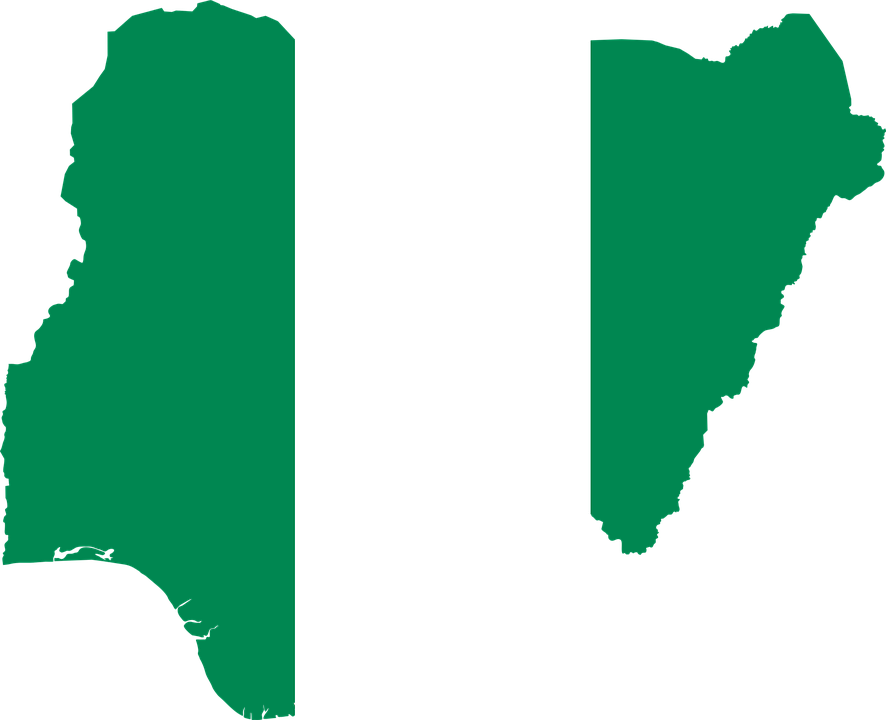 Nigeria Flag Map.