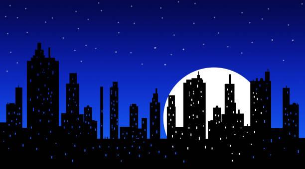 City Skyline At Night Clipart.