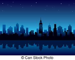 City At Night Clipart.