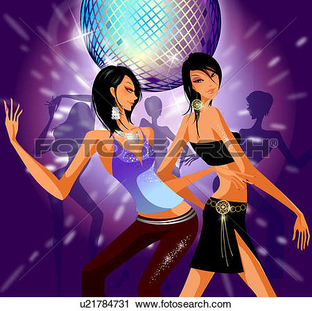 Stock Illustrations of Men and women dancing on a dance floor in a.