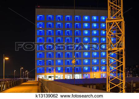 Stock Photo of Construction site of Stuttgart 21 at night.