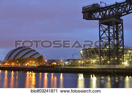 "Stock Photography of ""Clyde Auditorium, Finnieston Crane and."