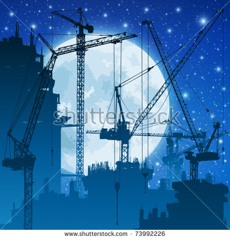 Lots Tower Cranes On Construction Site Stock Vector 73992226.