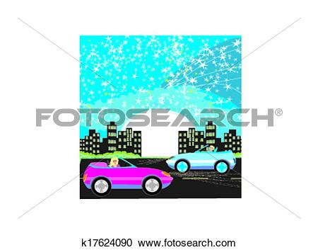 Clipart of Night drive in a car k17624090.