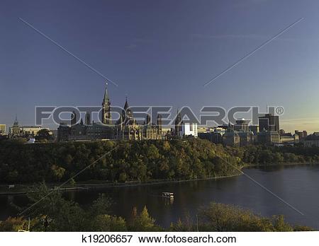 Stock Illustration of Canadian Parliament at nightfall k19206657.