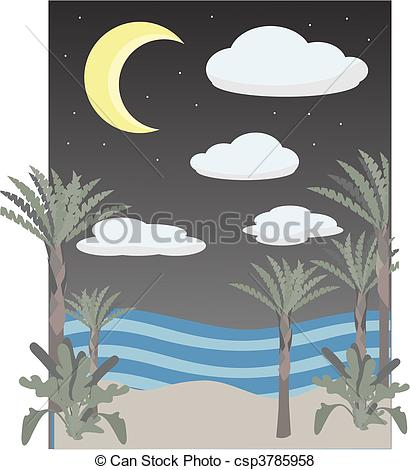 Vector of Night time on scene beach clouds, m.