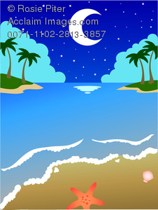 Clipart Illustration of Moon Reflecting Off the Ocean In a.