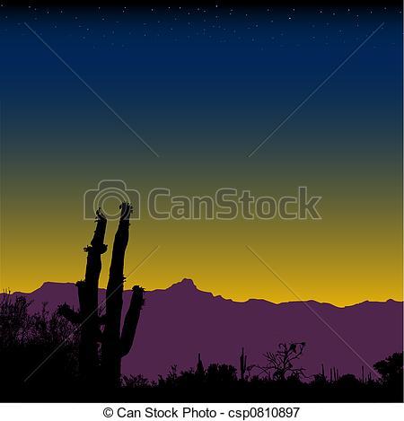 Stock Illustrations of Cactus Desert Mountain Nightfall.