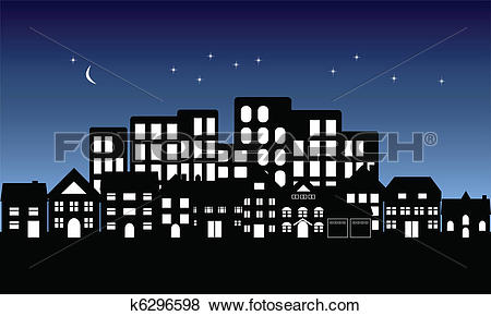 Clip Art of Night fall on town k6296598.