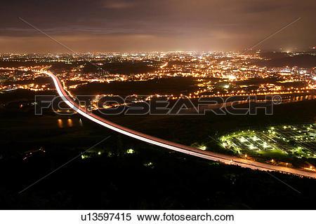 Stock Image of Vehicle, Outside, Lights, Night, Nightfall.