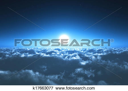 Stock Illustration of Night flight above the clouds k17663077.
