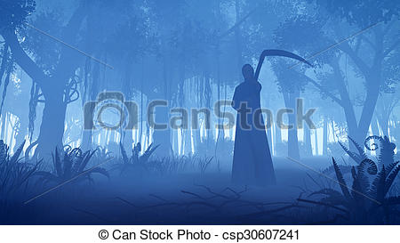 Drawing of Grim reaper in a misty night forest.