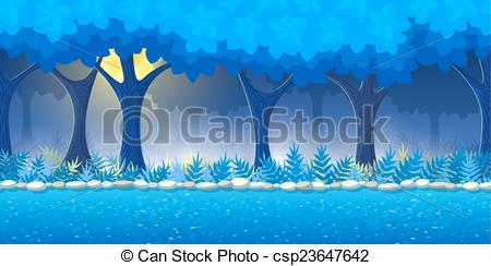Night forest clipart.