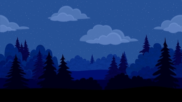 Night in the Forest Clip Art.