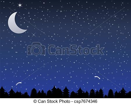 Clip Art Vector of Night in a forest.