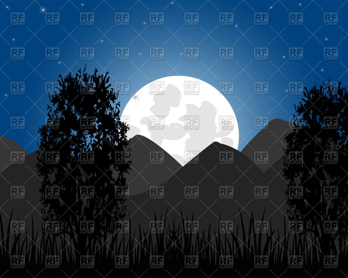 Beautiful night landscape with mountain and moon Vector Image.