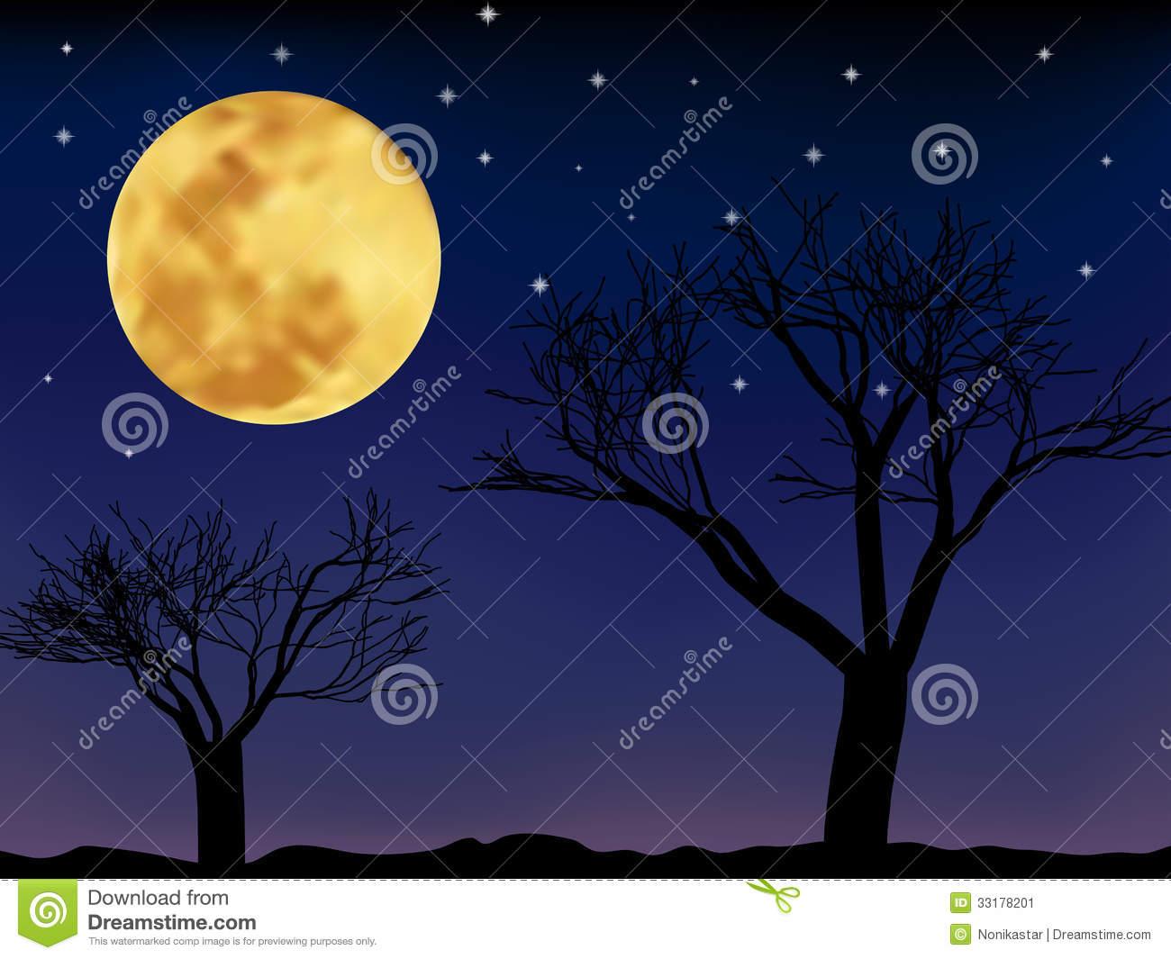 Vector Night Landscape Stock Image.