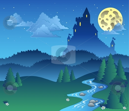 Fairy tale landscape at night 1 stock vector.