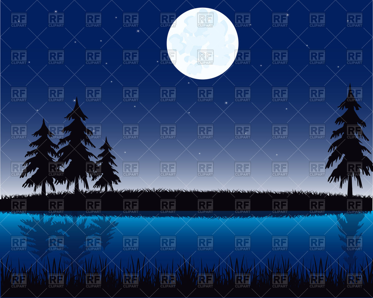 Night landscape on river Vector Image #91426.