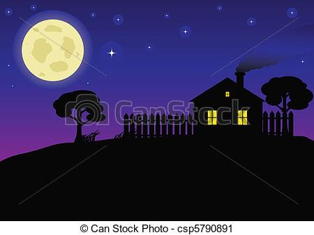 Vector Clip Art of Country Night.
