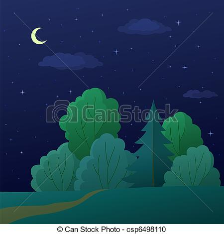 Vector Clipart of Landscape, night summer forest.