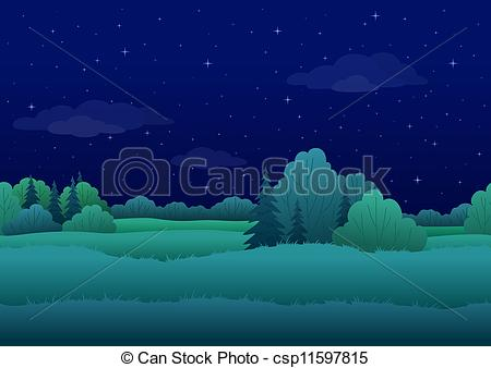 Clipart of Seamless background, night landscape.