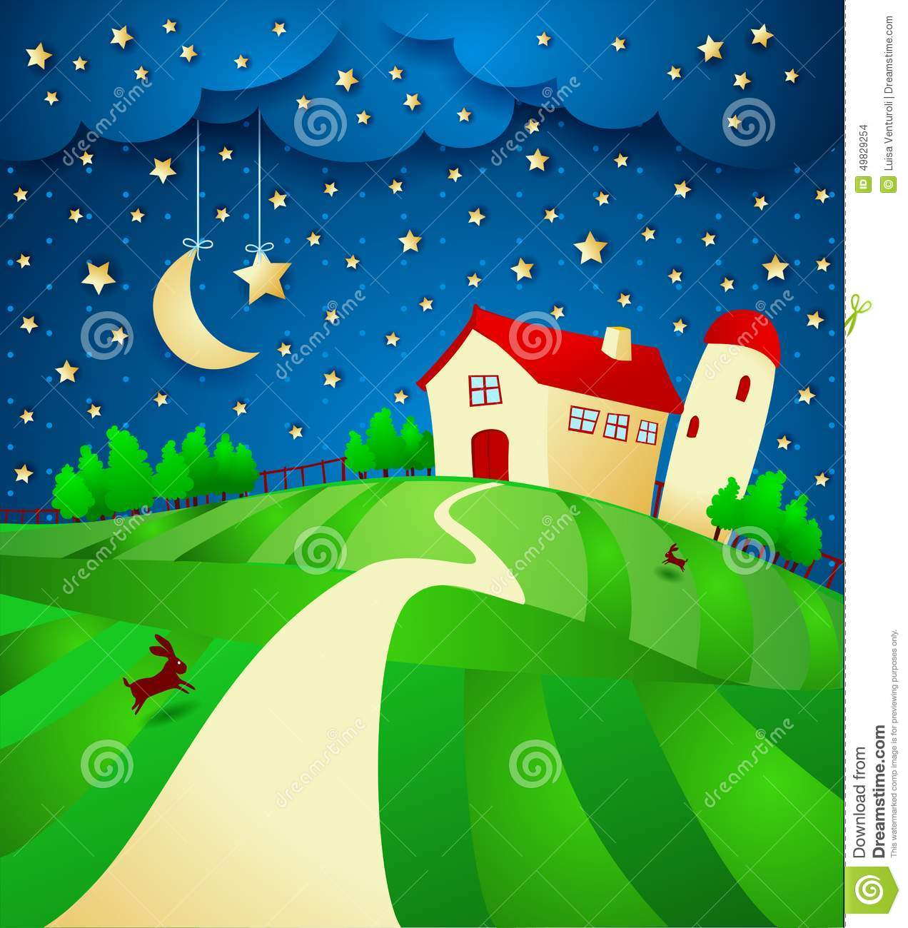 Night Landscape With Farm And Starry Sky Stock Vector.
