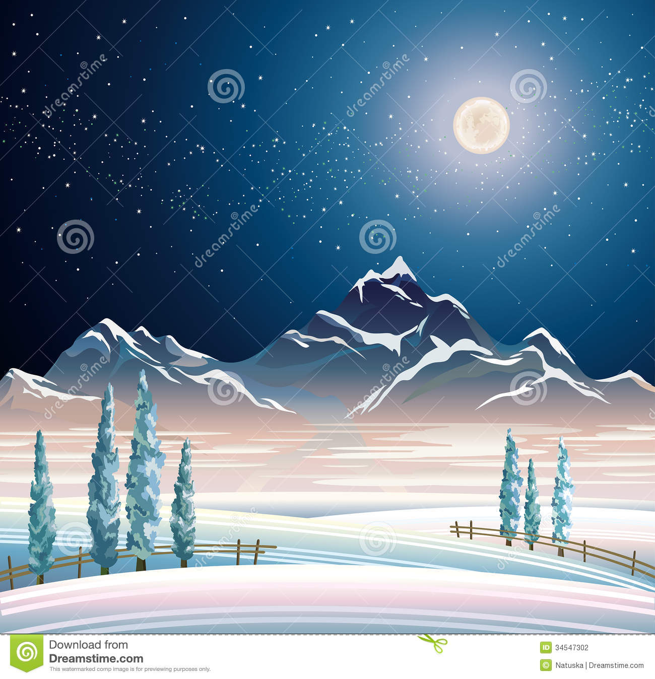 Winter Night Landscape Stock Photography.