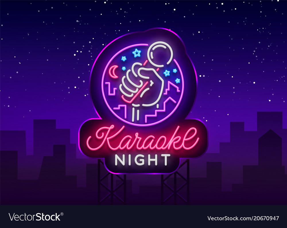 Karaoke night neon sign luminous logo.