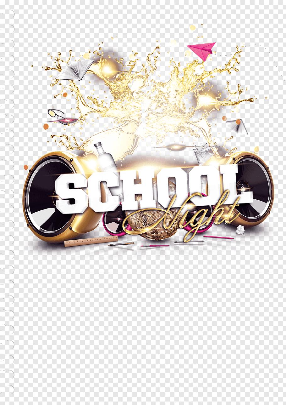 School Night logo, Flyer Party School Template Rxe9sumxe9.