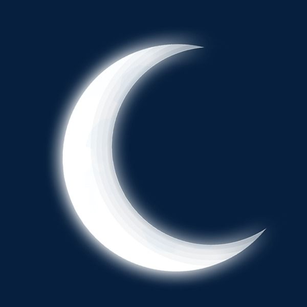 White Moon In The Night, Moon Clipart, White, Vector Moon.