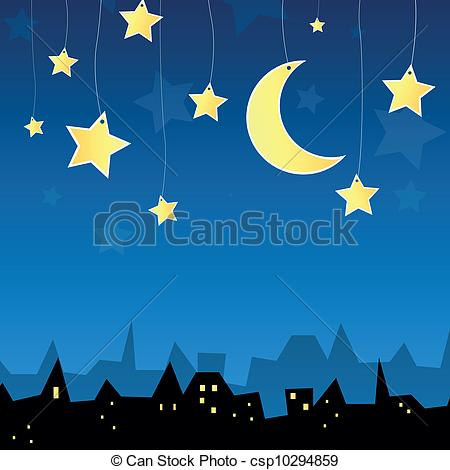 Clipart Vector of Vector City at Night.