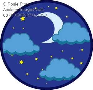 Clipart Illustration of the Night Sky.