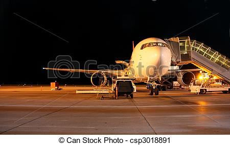 Stock Photography of Plane night shot.