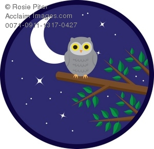 Clipart Illustration Of An Owl On A Tree Branch At Night.