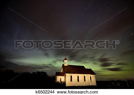 Stock Photo of Country Church Night Photography k6502244.