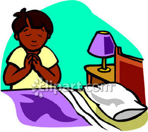 Boy saying prayer clipart.