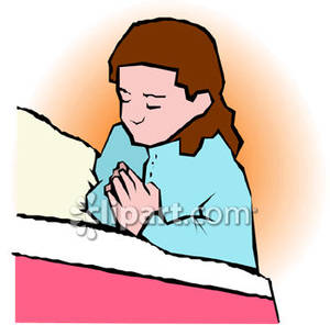 Bedtime prayer clipart.