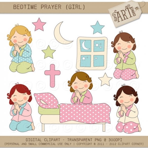 Clipart Bedtime Prayer Girl.