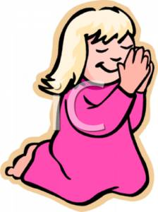 Clipart Illustration of a Young Girl Saying Bedtime Prayers.