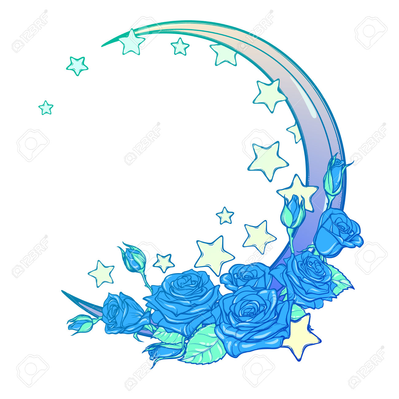 Kawaii Night Sky Composition With Roses, Stars And Moon Crescent.