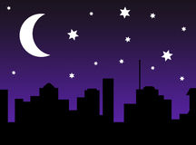 Starry Night City Scene Silhouette Stock Photos, Images.