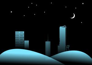Winter night scene Clipart, vector clip art online, royalty free.